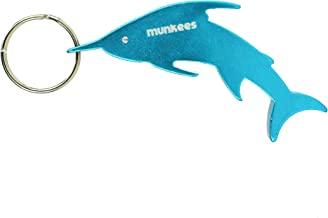 Munkees Water Animal Bottle Opener Keychains, Mini Ocean & Sea Creature Key Rings, Small Pocket-Sized Shark, Swordfish, Piranha, Dolphin, Penguin, Sea Horse & Crocodile