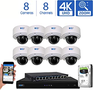 GW Security AutoFocus 4K (8MP) IP Camera System, 8 Channel H.265 4K NVR, 8 x 8MP UltraHD 3840x2160 Dome POE Security Camera 4X Optical Motorized Zoom Outdoor Indoor
