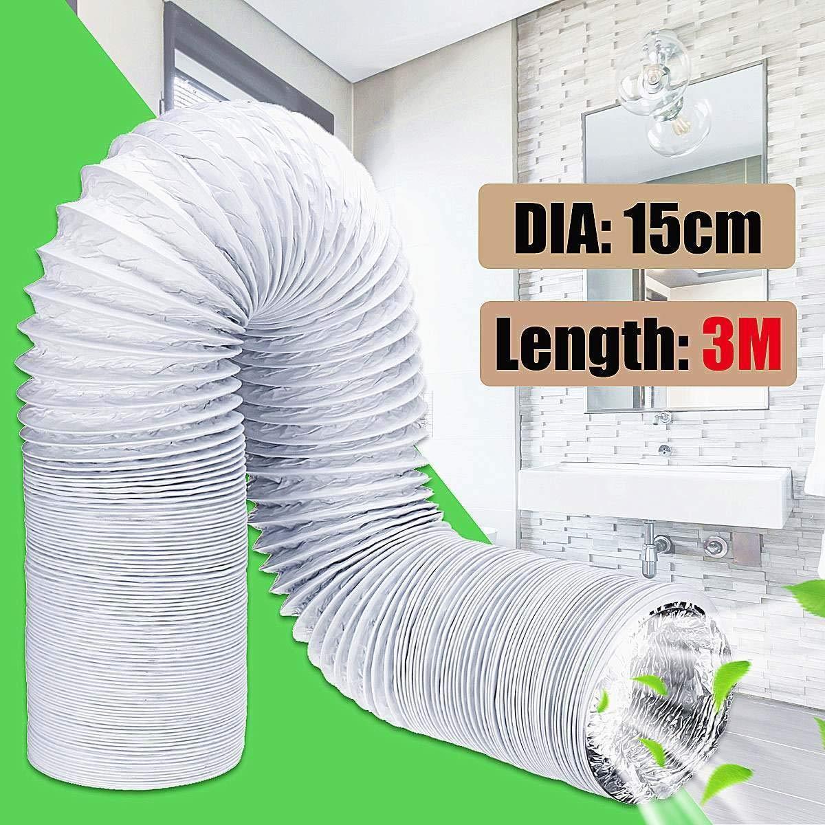 PLT-AIRE ACONDICIONADO PIEZAS, 3 metros Tubo de escape Repuestos de aire acondicionado flexibles Tubo de escape Manguera de ventilación Salida de 150 mm Conducto de ventilación Manguera de ventilación: Amazon.es: Hogar