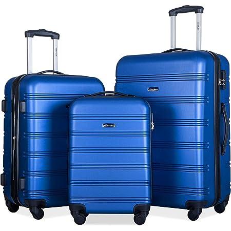 Merax 3 Pcs Luggage Set Expandable Hardside Lightweight Spinner Suitcase with TSA Lock [Upgraded Version] (Blue2019)