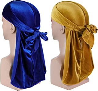 Velvet Men Durag - Premium Durag Cap Headwraps (2PCS) with Extra Long Tail and Wide Straps for 360 Waves