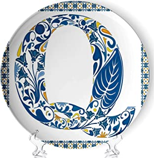 YOLIYANA Letter Q Porcelain Plates Ceramic Decorative Plates,Spring Inspired Tropical Nature Foliage Themed Font Design Q and Framework Decorative,7 Inch