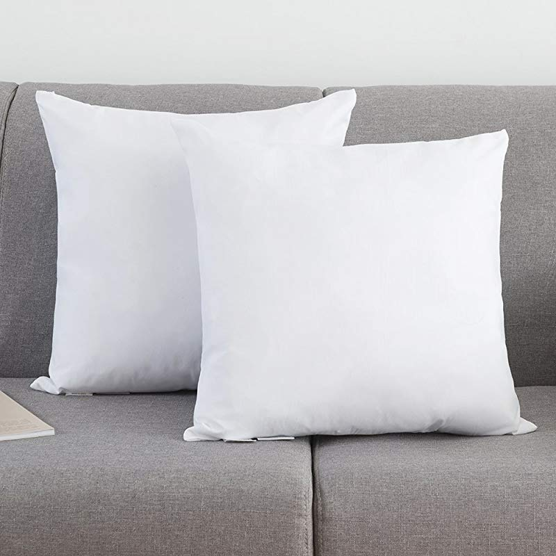 YSTHER Set Of 2 Down And Feather Pillow Inserts Throw Pillows Double Fabric 100 Cotton 20 L X 20 W White