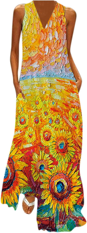 Smooto Women Summer Dresses Sleeveless Maxi Dress Party Cami Dress With Pockets