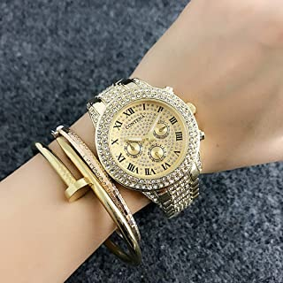 Watch Men's/Women's Watches Starry High-Grade Alloy Quartz Watch Full Diamond Roman Scale Watch, Fashion Watch (Color : Gold)