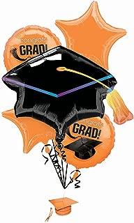PMU Graduation Congrats Grad Cap Balloon Bouquet Orange (5/Pkg) Pkg/1