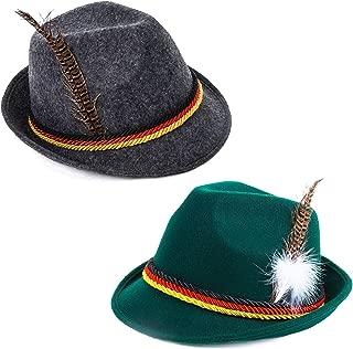 Oktoberfest Hats - German Alpine Hat - Bavarian Hat with Feather (2 Pack)