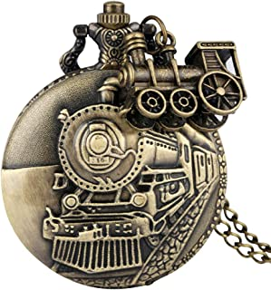 Bronze Pocket Watch for Men, Classic Train Pattern Over Case Pocket Watches for Husband, Utility Slim Chain Pendant Watch for Boys