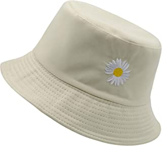 Flower Embroidery Bucket Hat for Women Summer Travel Beach Sun Packable Hat Reversible Outdoor Cap