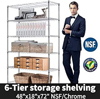 6-Tier Shelf Wire Shelving Units, Height Adjustable Organizer Garage Storage Units Heavy Duty Utility Metal Rack,4800lbs Wire Shelving Rack w/Wheels for Garage Office Kitchen, 48
