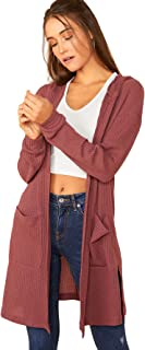 Floerns Women's Long Sleeve Open Front Hoodie Knit Sweater Cardigan with Pockets