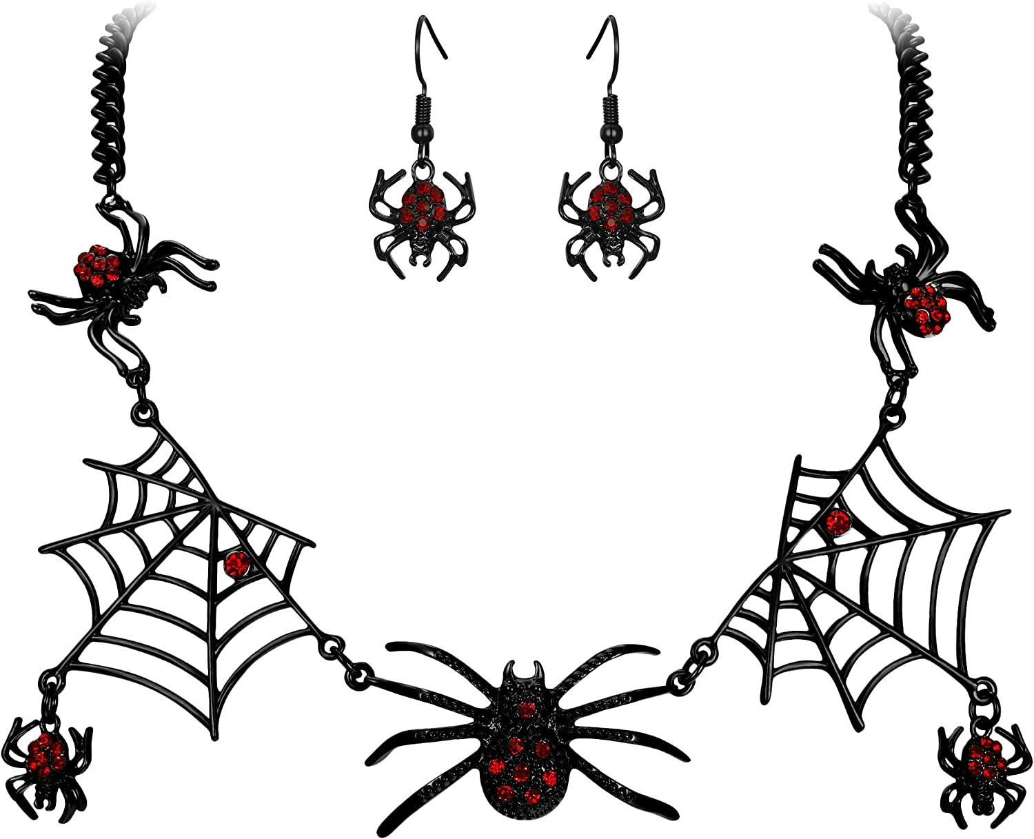 EVER FAITH Halloween Jewelry Accessory Austrian Crystal Vivid Spiders Web Cool Animal Necklace Earrings Set