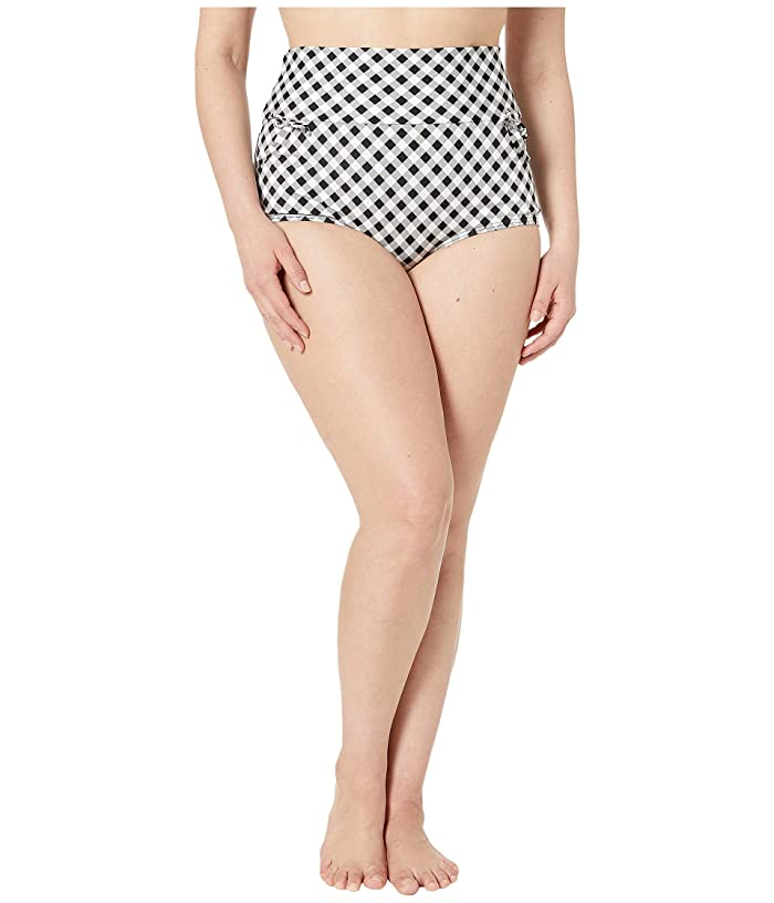 Unique Vintage Plus Size Gilda High-Waist Swim Bottoms (Black/White Gingham) Women