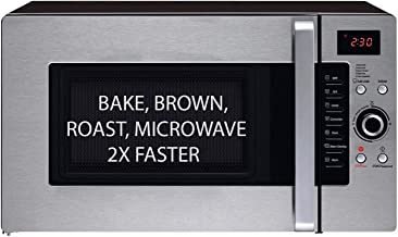 3 in 1 Oven: Half Time Convection Microwave Oven, Bake, Brown, Roast in Half the Time, Countertop Stainless Steel/Black. 2 Year Manufacturer's Warranty Included.