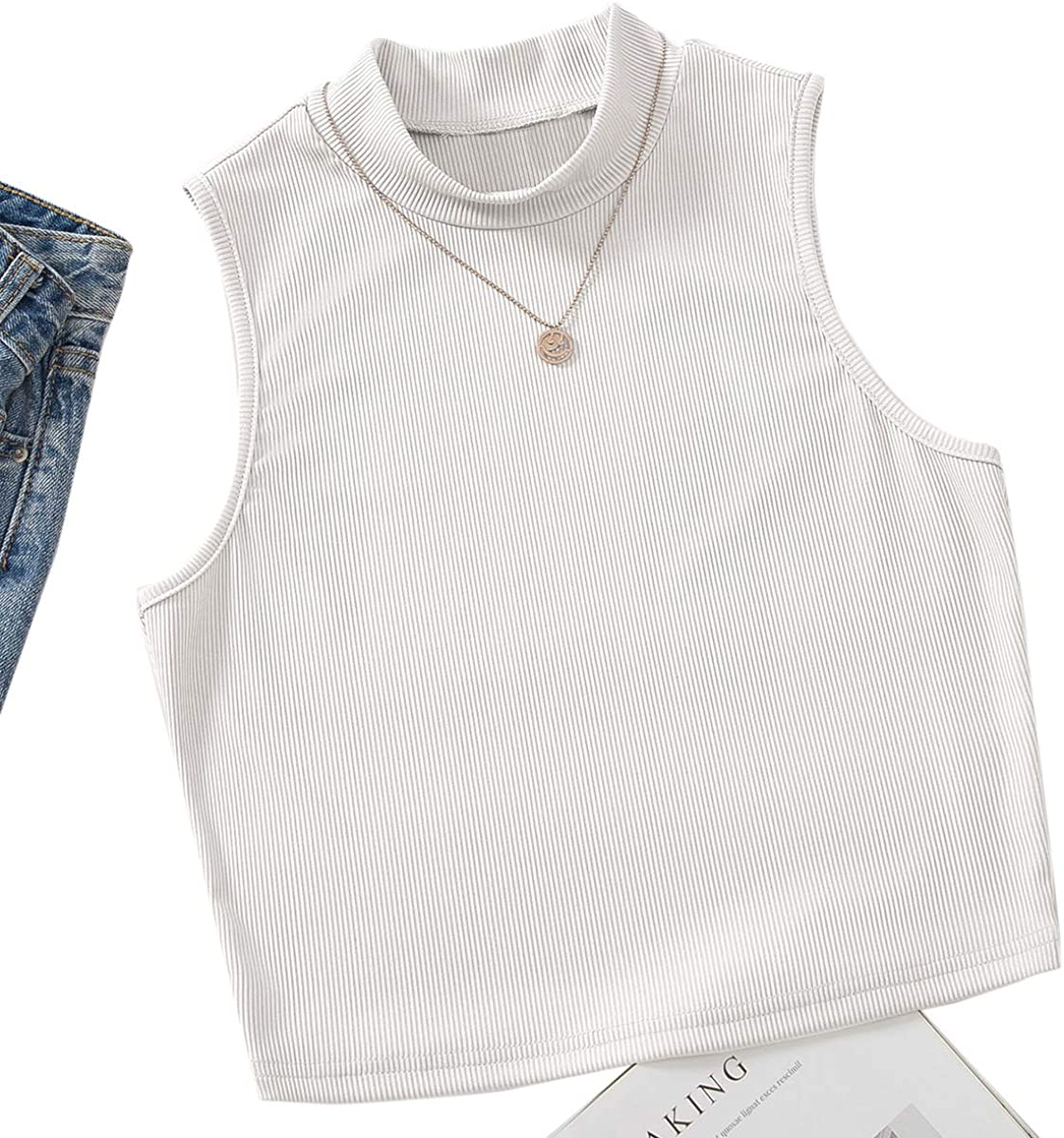 SheIn Women's Casual Mock Neck Sleeveless Crop Tank Top Rib Knit Solid Vest