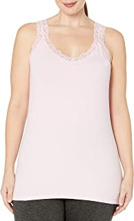 Just My Size Women's Plus Size Stretch Jersey Lace Trim Tank