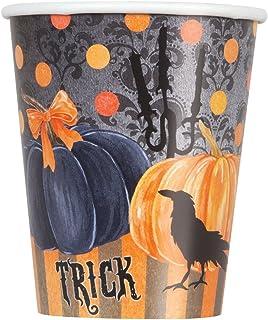 Unique 492168Count pintado calabaza de Halloween Party Cups, 9oz, Naranja/Negro