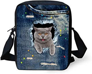 HUGS IDEA Grey Kitty Printed Funny Women Small Shoulder Bags Adjustable Strap Handbag Cellphone Pouch for Travel