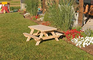 Kids Children's Cedar Picnic Table - Amish Made USA - Stained - Oak