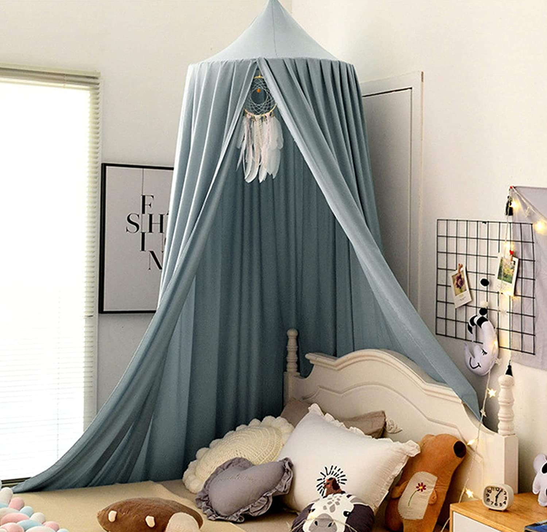 Dosel para cama de bebé, mosquitera de encaje, baldaquín, niña, princesa, algodón, cortina de cama para juegos, lectura, dormitorio, vestidor (gris oliva)