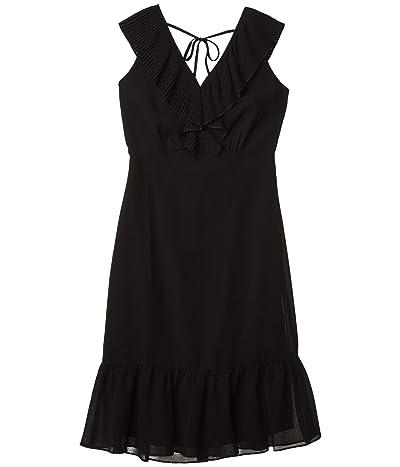 Sam Edelman Mini Pleat Neckline Dress (Black) Women