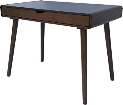Great Deal Furniture | Rex | Mid Century Wood Writing Desk | in Charcoal Grey/Medium Brown