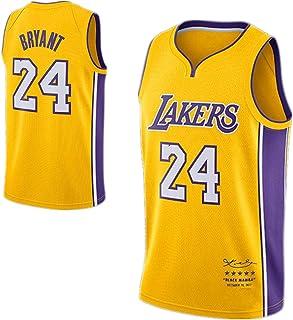 Combinaison de Basket-Ball pour Enfant Maillot de Sport pour Jeunes Lakers # 24 Kobe Bryant pour Hommes Ensembles de v/êtements de Basket-Ball Confortables et Respirants 100/% Fibre de Polyester