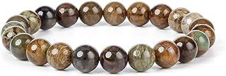 J.Fée - Braccialetto in cristallo da 10 mm, con perle rotonde semi-preziose, ideale come regalo di compleanno, unisex