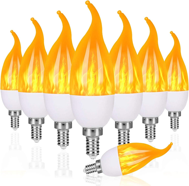 Venforze E12 Flame Bulbs 8 Pack Flame Tip for Christmas Party Decorations 3 Mode LED Candelabra Flame Light Bulb 1.2 Watt Warm White Chandelier Flame Bulbs,1800k Candle Light Bulbs