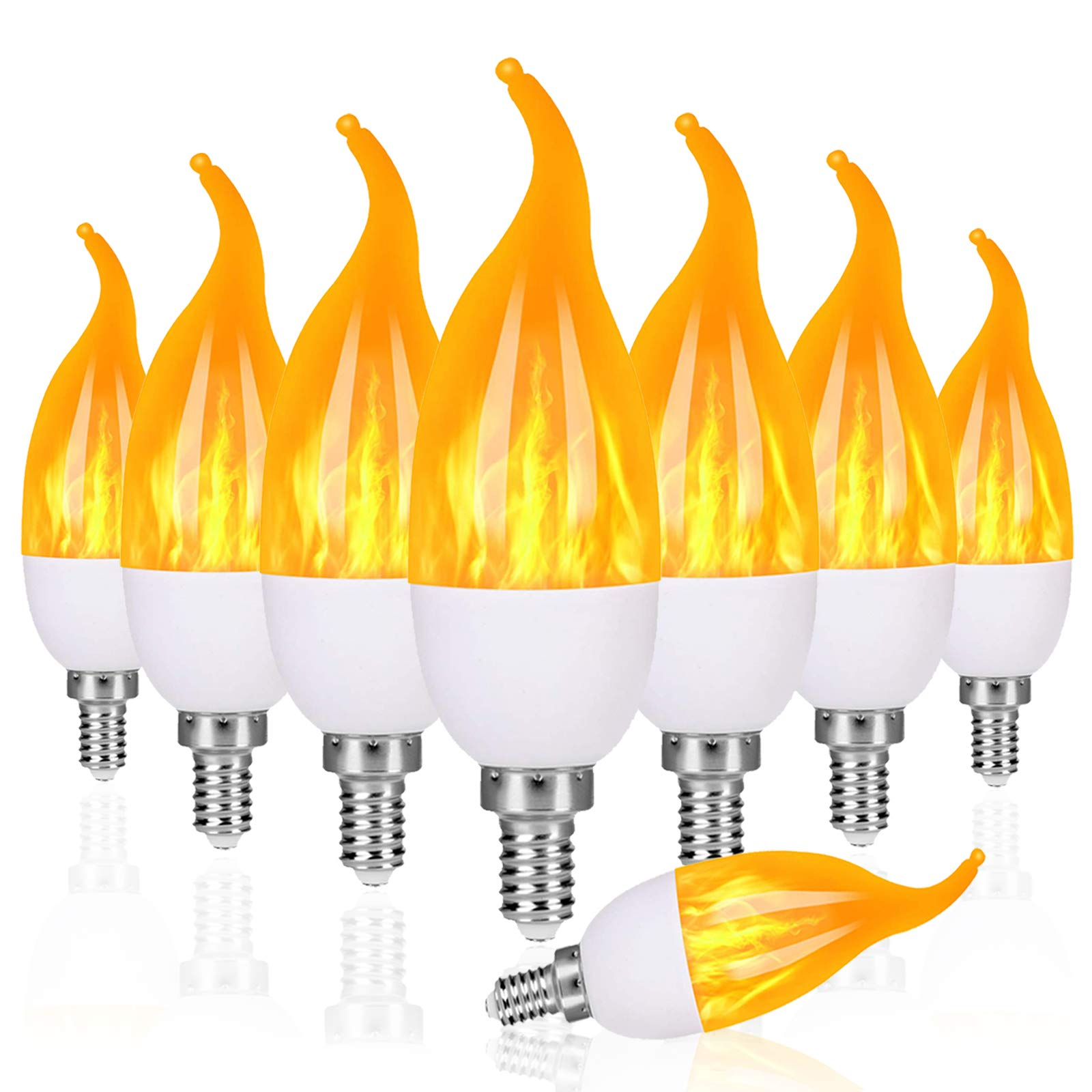 Venforze E12 Flame Bulbs 8 Pack, 3 Mode LED Candelabra Flame Light Bulb 1.2 Watt Warm White Chandelier Flame Bulbs,1800k Candle Light Bulbs, Flame Tip for Christmas Party Decorations