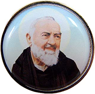 Religious Saint Padre Pio of Pietrelcina Pocket Medal with Prayer Back, 1 1/4 Inch