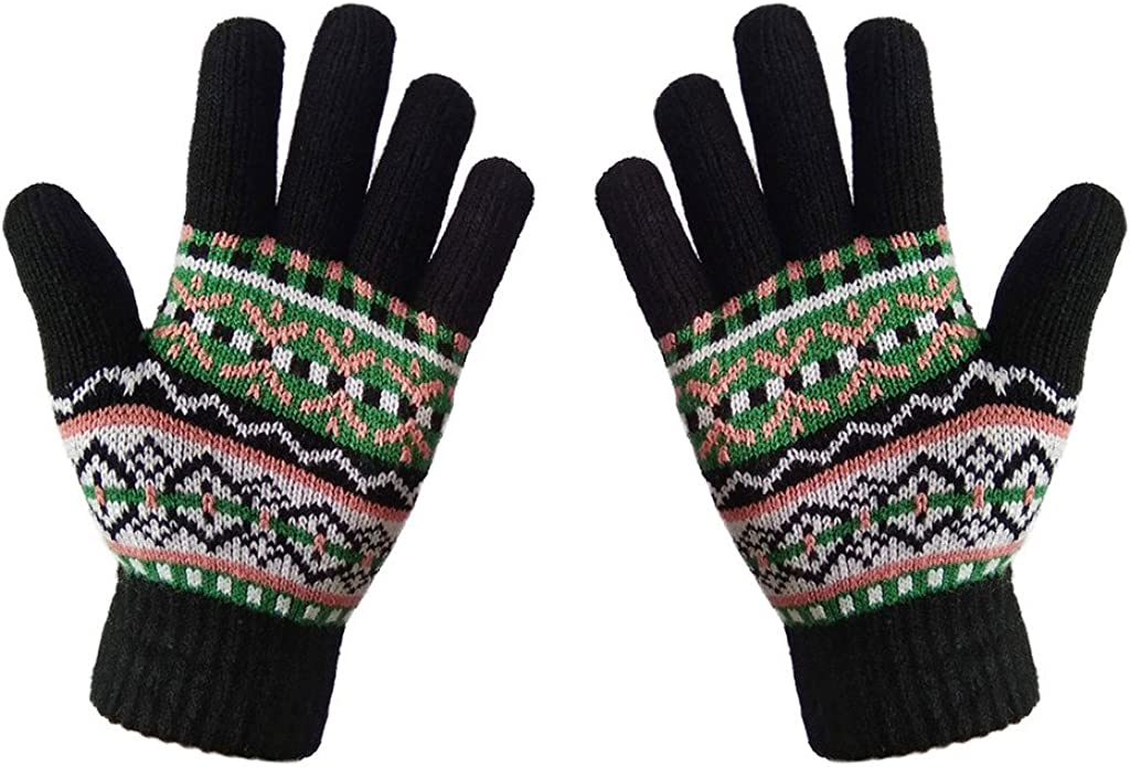 LETHMIK WomensGirls Thick Knit Gloves Colorful Glov Our free shipping shop OFFers the best service Winter Warm