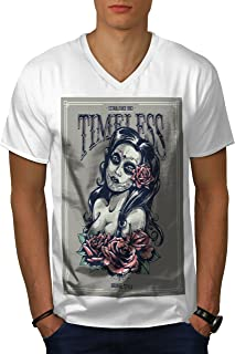 wellcoda Timeless Girl Hot Mens V-Neck T-Shirt, Sexy Graphic Print Tee