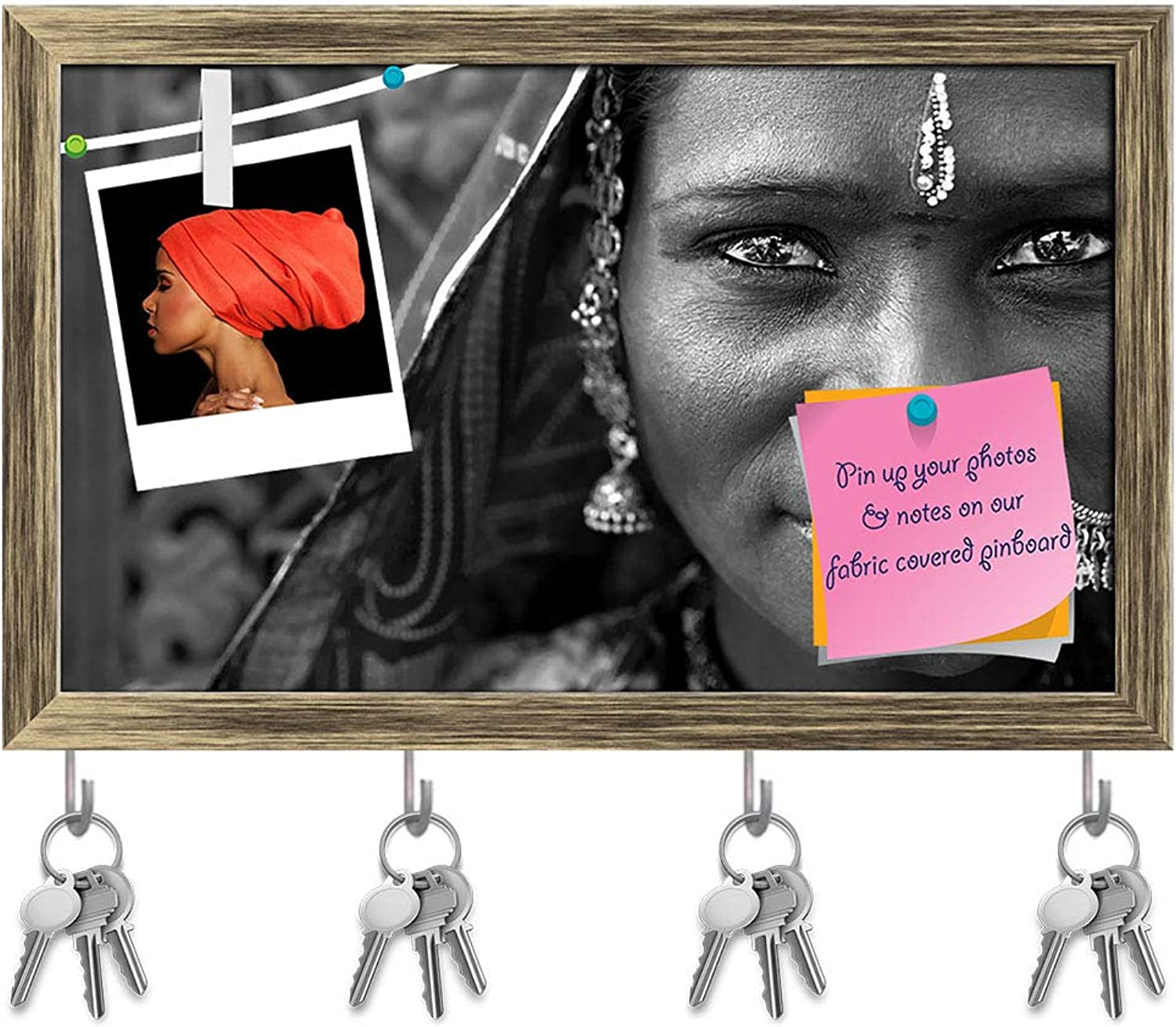 Artzfolio Portrait of A India Rajasthani Woman Key Holder Hooks   Notice Pin Board   Antique golden Frame 19.5 X 12Inch