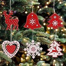 Christmas Tree Ornaments Christmas Holiday Decorations Ornaments Wood Christmas Pendants Snowflakes Hearts Bells Elk Shape...