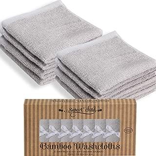 """SWEET CHILD 100% Organic Bamboo Baby Washcloths(Bonus 8-Pack) (10""""x10"""", Gray)"""
