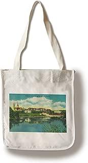 Lantern Press Spokane, Washington - Gonzaga University and St. Aloysius Church - Vintage Halftone (100% Cotton Tote Bag - Reusable)