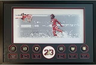 Michael Jordan Autographed Chicago Bulls Signed Basketball 12x24 1988 Gatorade Dunk Framed Photo Upper Deck UDA COA