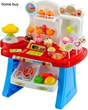home buy Supermarket Play Set Toy Shop 34 Pcs with Sound Effects, Multi Color