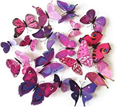 TRIXES 3D Butterflies Purple Pink - 3D - Pack of 12 - Stick On Wall Magnetic Decoration Butterfly Wall Stickers