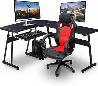 Ivinta Reversible Black Gaming Desk Corner Desk Modern L-Shaped Desk Computer Desk for..