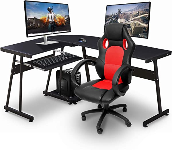 Ivinta Black Gaming Desk Corner Desk Modern L Shaped Desk Computer Desk For Home Office Small Space With Keyboard Tray And CPU Stand 44x58 Inch
