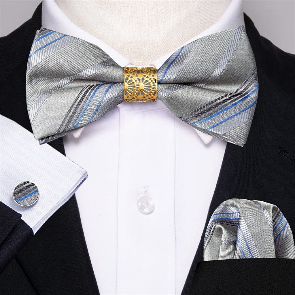 Walnut Gray Striped Silk Pre-Bow Tie for Men Wedding Accessorie Adjustable Butterfly Handky Removable Gold Ring Set (Color : Gray, Size : One Size)