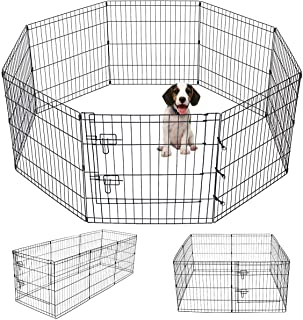 Pet Playpen Puppy Playpen Kennels Dog Fence Exercise Pen Gate Fence Foldable Dog Crate 8Panels 24 Inch Kennels Pen Playpen Options Ideal for Pet Animals Dog Cat Rabbit Breed Puppy Outdoor Indoor