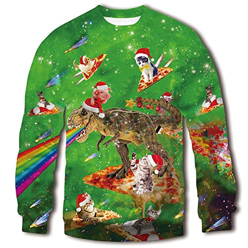 740eb88d1209b RAISEVERN Unisex Ugly Christmas Sweatshirt 3D Funny Design Printed Casual  Novelty Xmas Pullover Sweater Shirt