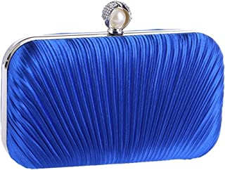 Shoulder Bag Women's Diamond Clutch Purse Handbag Bag Fashion Evening Bag Pleated Fabric Craft Bag Handbag Clutch (Color : Blue)