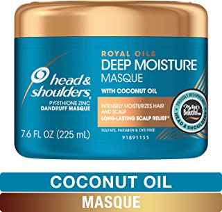 Head and Shoulders Deep Moisture Masque Conditioner Treatment, Anti Dandruff and Scalp Care, Royal Oils Collection with Coconut Oil, for Natural and Curly Hair, 7.6 fl oz