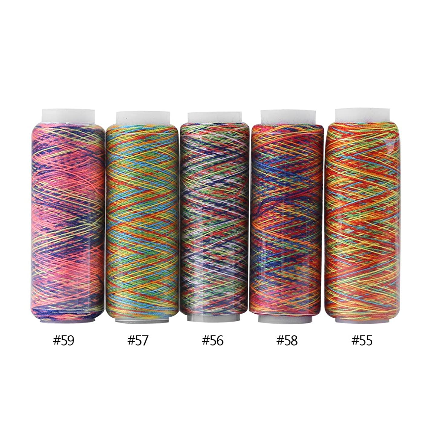 Multicolor Thread Set, 5 Spools of Polyester Thread Yard, Variegated Polyester Manual Machine Embroidery Sewing Thread 110m/120 Yard