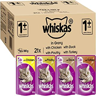 Whiskas 1+ Cat Pouches Mixed Selection In Gravy 84x 100g