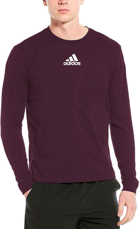 adidas Columbus Mall Men's Amplifier Long Sleeve Outstanding Maroon T-Shirt Logo EK02